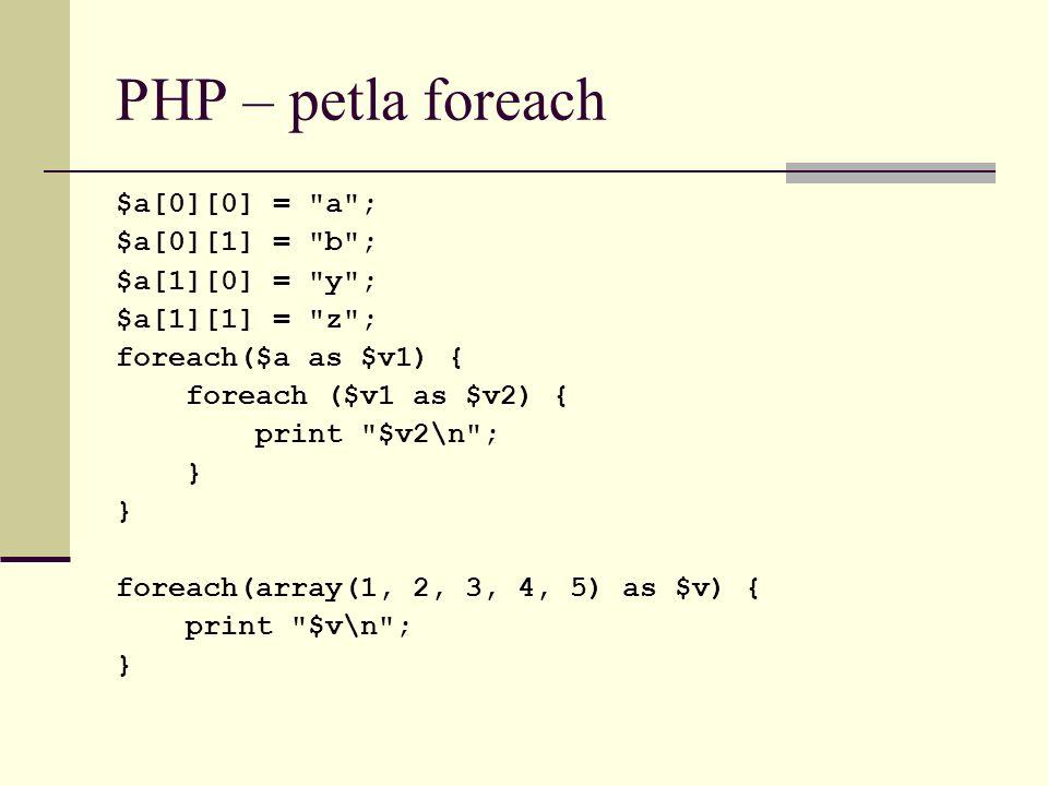 PHP – petla foreach $a[0][0] = a ; $a[0][1] = b ; $a[1][0] = y ;